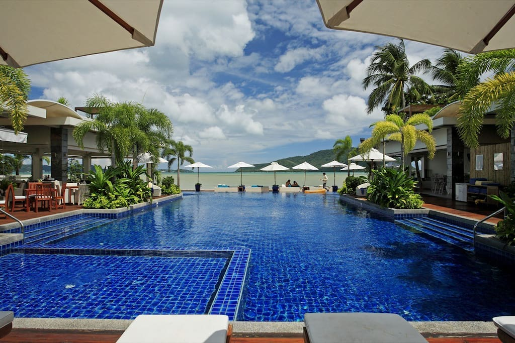 Beach Front Infinity Pool and Clubhouse with Restaurant.