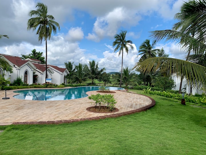 Modern 1BHK with pool in Riviera sapphire Siolim
