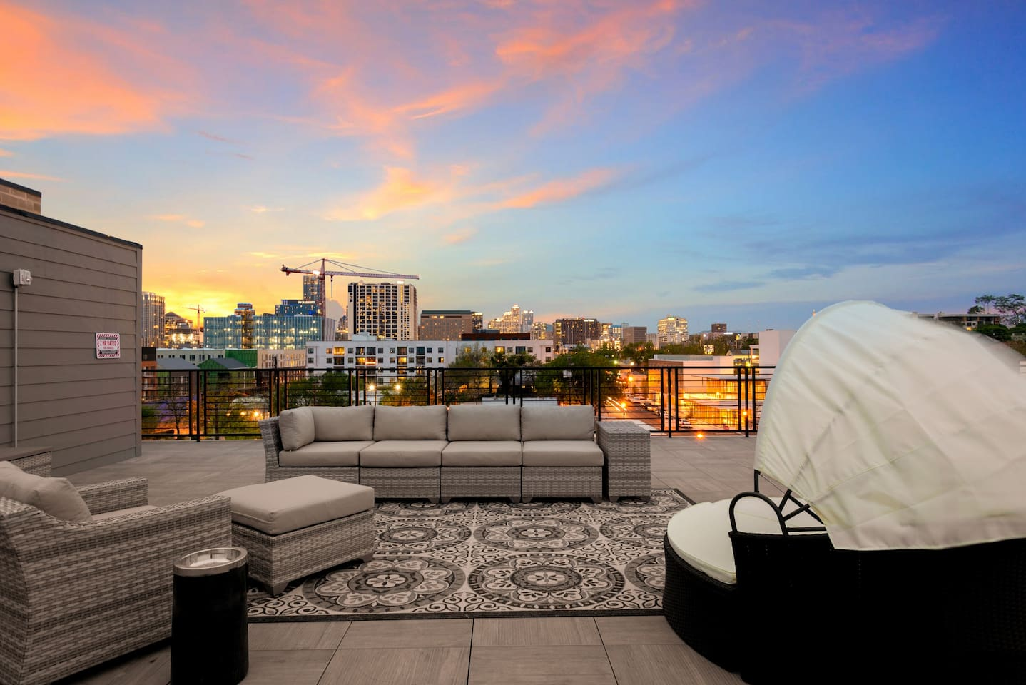 Enjoy the skyline view from the roofdeck. Walk almost everywhere in Austin from the hotel lobby!