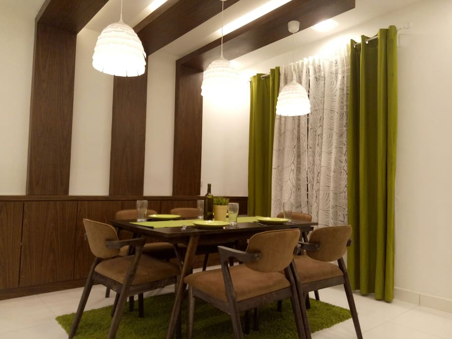 Dining area downstairs (earth/nature theme) with cutlery where you can dine in style