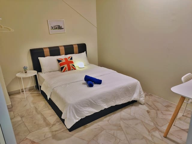 Bedroom with Air-Conditioner, Bath Towels & Study/Working Table