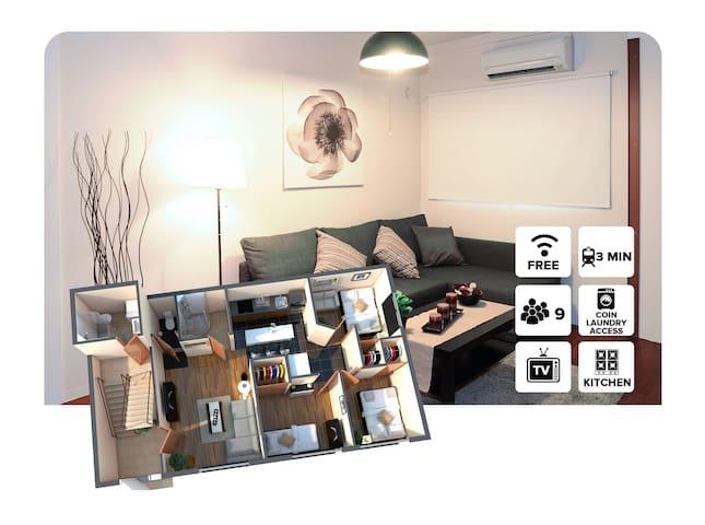3 Bed rooms 500m to Tsutenkaku&1 stop from Namba!