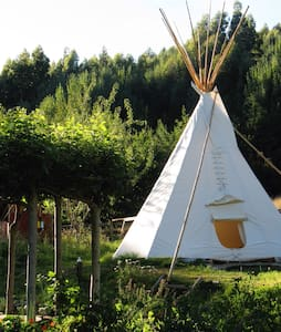 Tipi amidst wild flowers in magical Okuti Garden - Okuti Valley