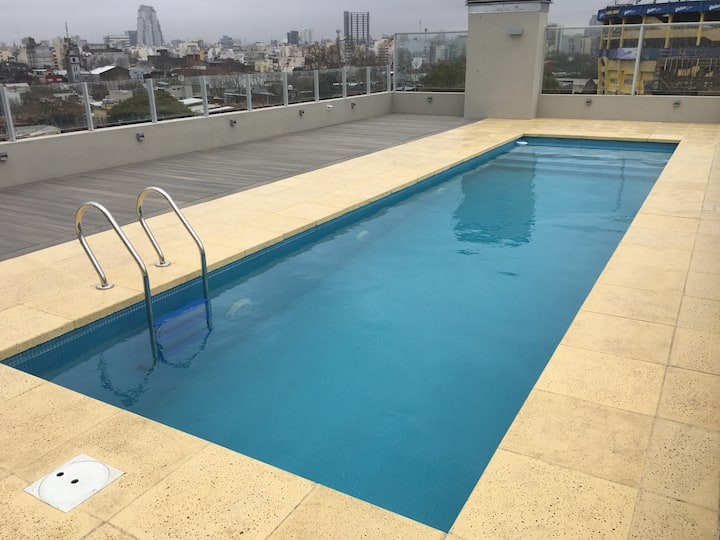 Apartment brand new, garage, pool view Bombonera