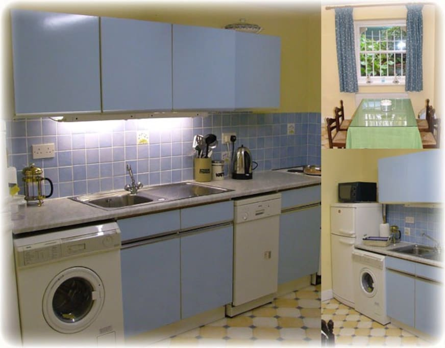 Up to date modern kitchen with all equipment provided. Includes fridge freezer, microwave,dishwasher, washing machine, oven and ceramic hob and coffee maker.