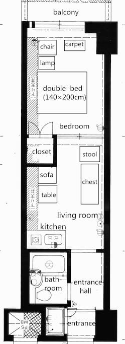 the apartment is located in the ground floor (hence the garden) of an apartment building.