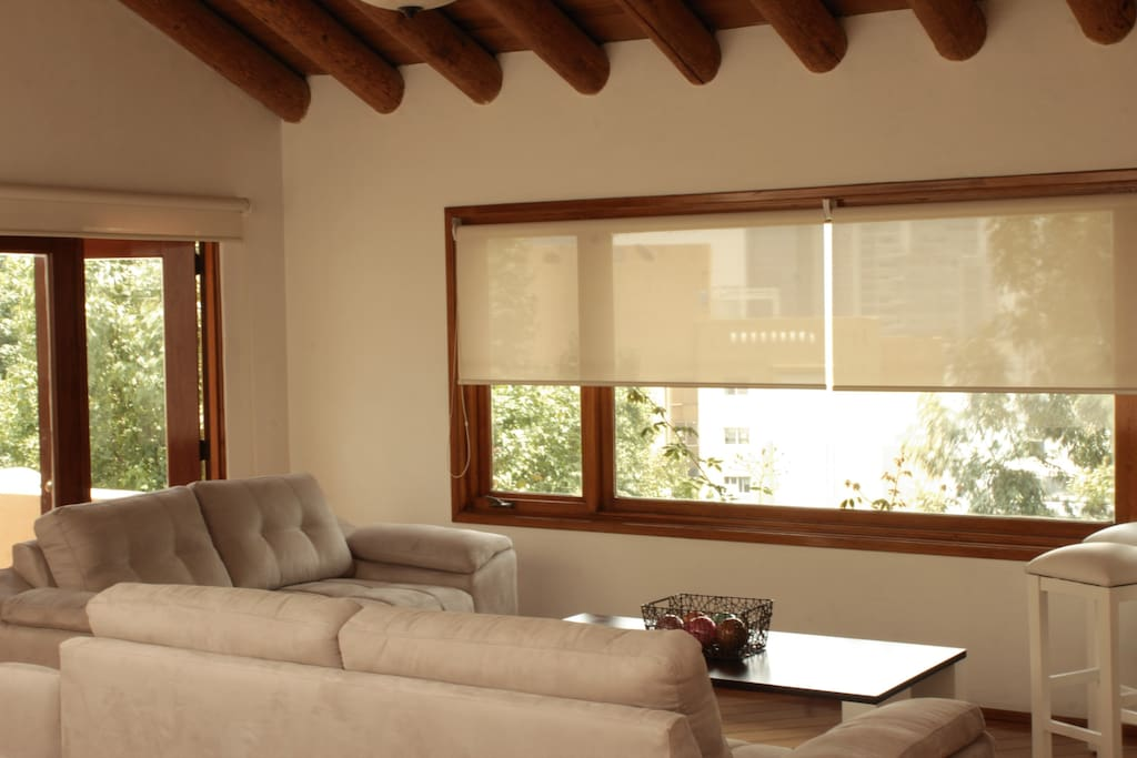 Spacious living room/bar/dining room space with ample, unobstructed  view of Santa Fe neighborhood outside