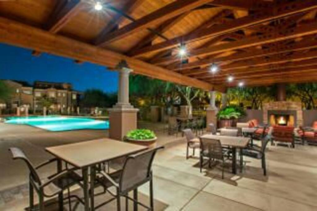 Outdoor sitting and heated pool