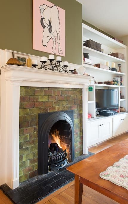 Easy-to-use gas fireplace warms up those chilly nights.
