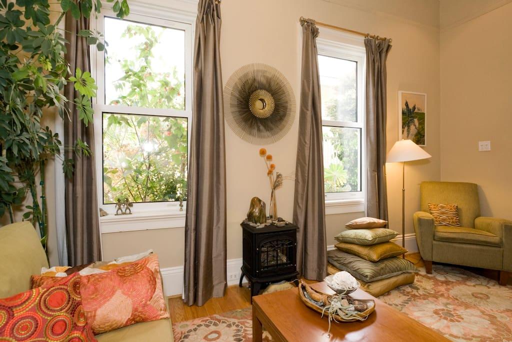 LIving room faces courtyard gardens