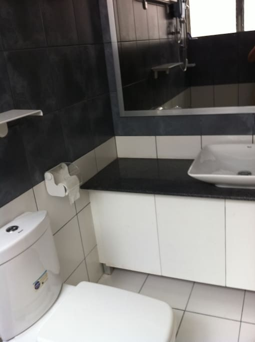 Own toilet and bath with hot and cold shower