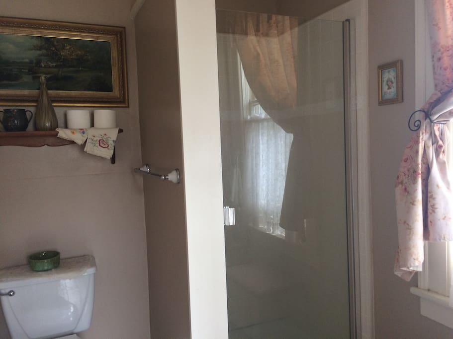 Private en suite bathroom with shower.