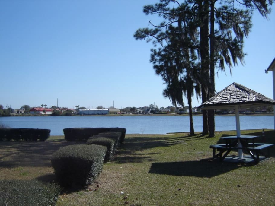 Picnic area and lake at the resort.