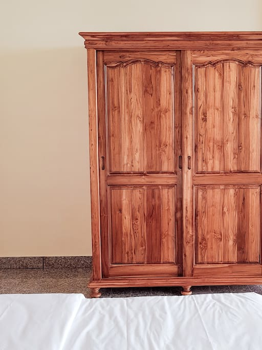 with wooden closet