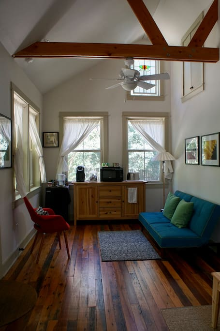 Beautiful pine floors, tall ceilings and stained glass