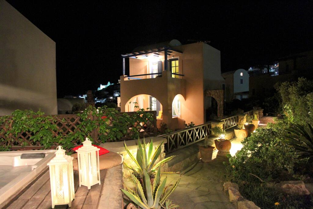 Enjoy the Jacuzzi and Garden area at night time