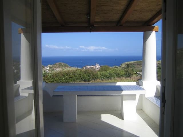 House in the hills overlooking sea