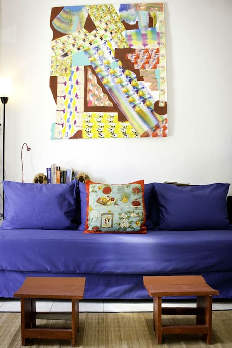 Read and relax on the sofa that also is a twin bed.