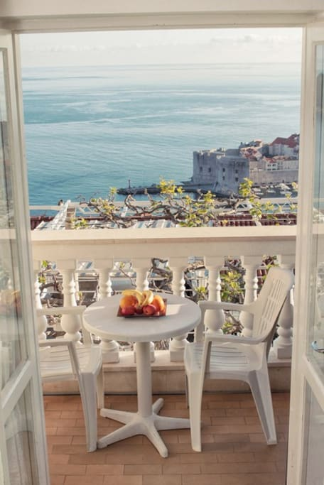 Private balcony with Dubrovnik Old town view