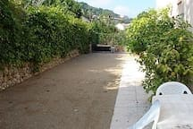 Boules Court within the secluded garden, complete with lemon & pomegranate trees