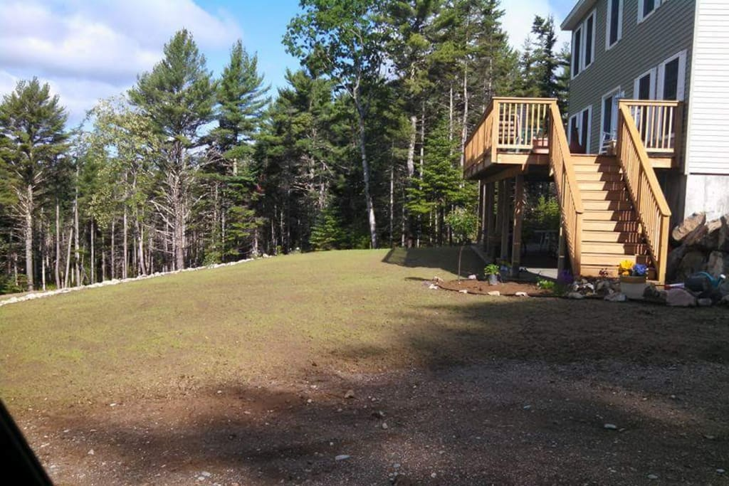 Huge 40 foot deck with patio underneath and new spring lawn growth