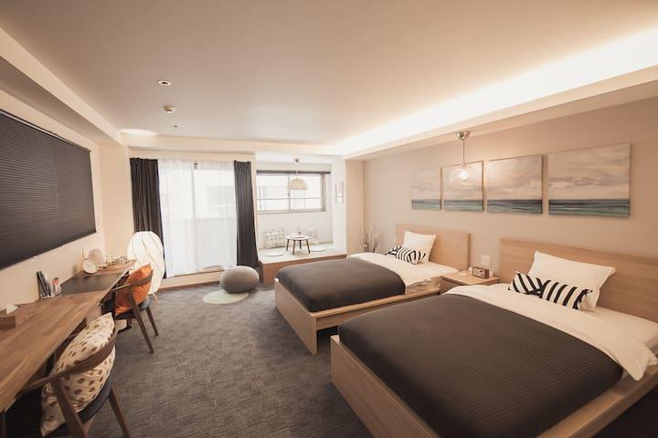 *2 [Ginza, Tsukiji]  Moonoka hotel  ,5guests, wifi