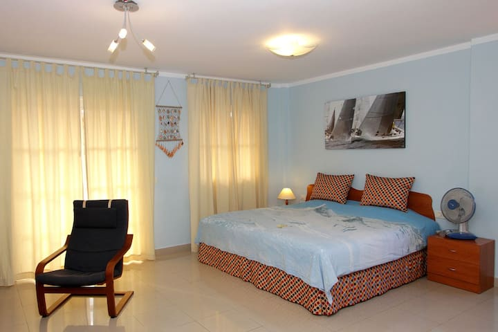 Sunny apartment-studio with king size bed (200x200)