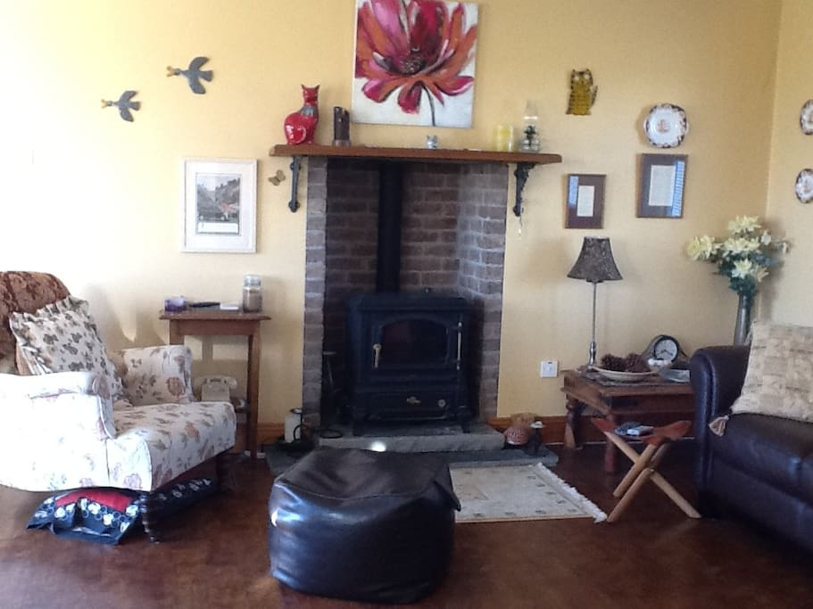 Cosy living room with oil fired stove