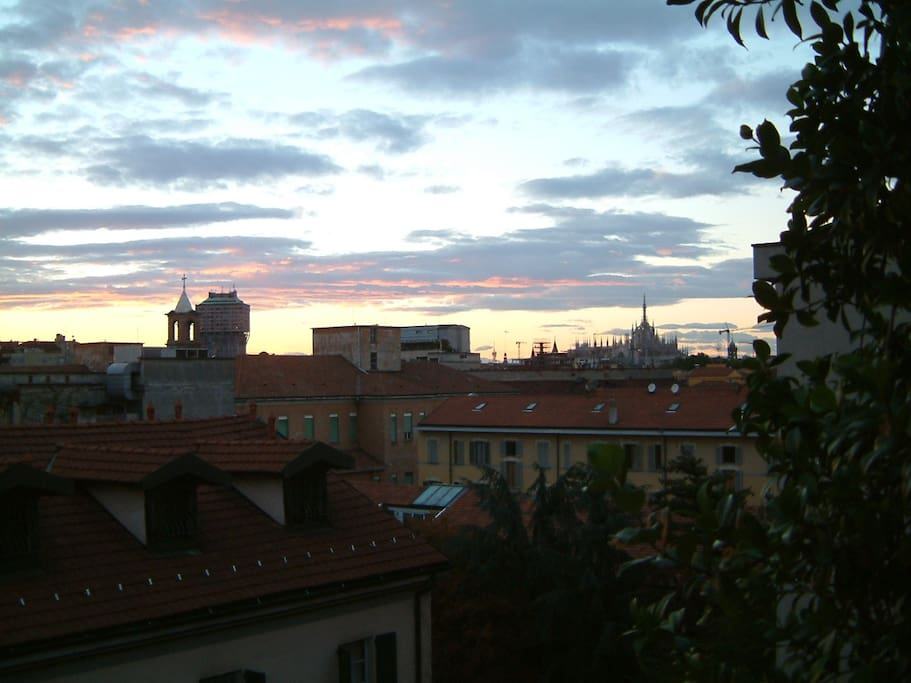 view over the roofs of milan, from the balcony