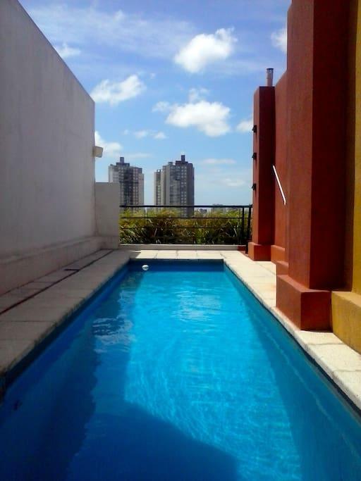 Una adorable pileta, para los días de calor en Buenos Aires. Con una increíble vista de la ciudad. Lovely swimming pool with and amazing view of the city.