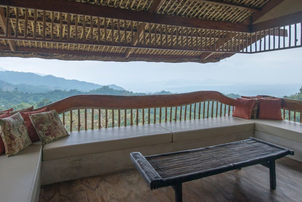 Living area with commanding view of Taal