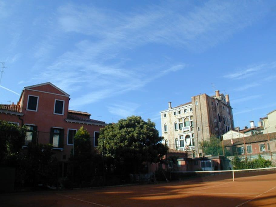 A view from a corner of the tennis court