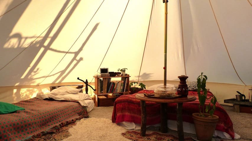 Back-to-basics tipi in permaculture garden
