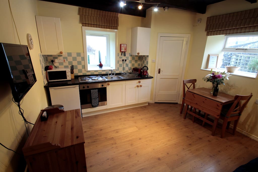 Open plan kitchen well equipped for self-catering