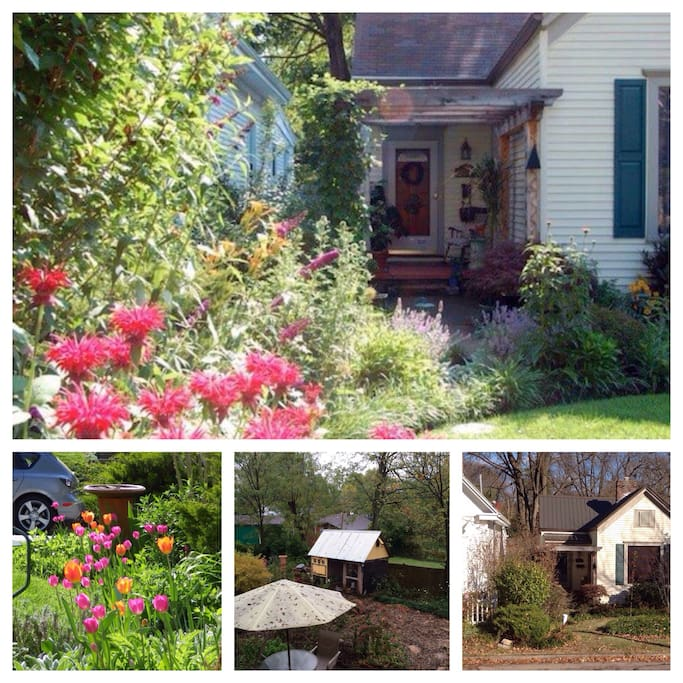 Yard has been on local garden tours and has a variety of native and edibles plantings. It is also home to honey bees and a flock of happy hens who will provide you eggs for breakfast.