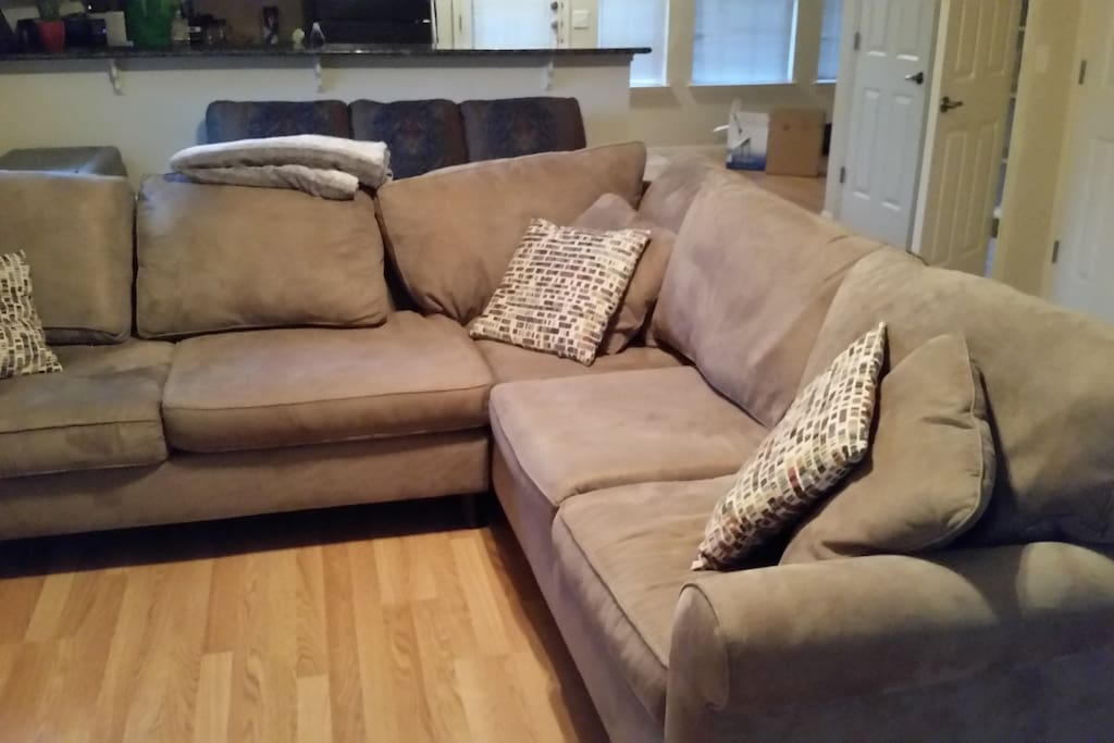 Giant Sectional, open kitchen/living room/dining room