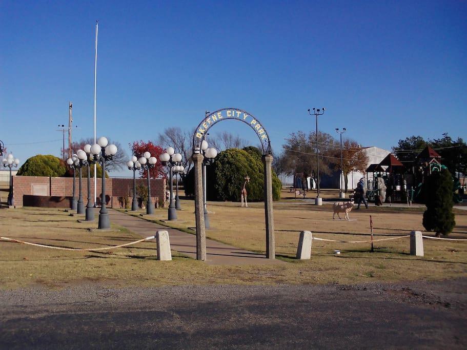 A lovely little city park is across the street.