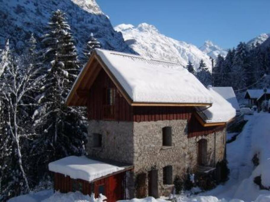 Our chalet in winter. Studio on ground floor. Skiing in Les Deux Alpes