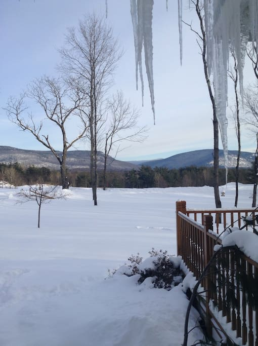 Beautiful views right from our front porch overlooking Mt Abraham.