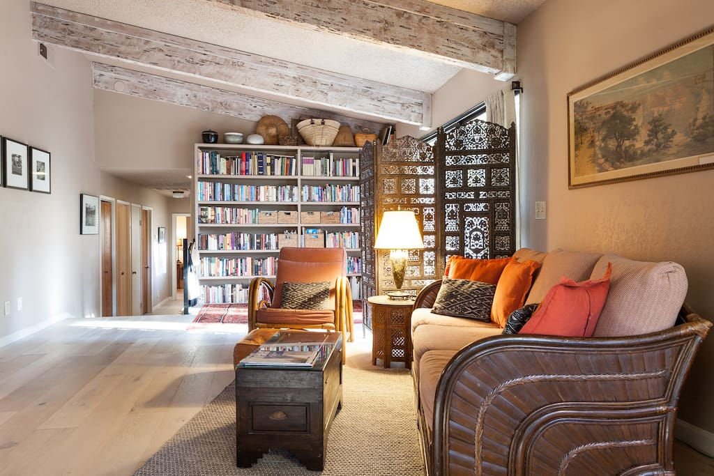 Guest hallway, a book to read, a place to relax.