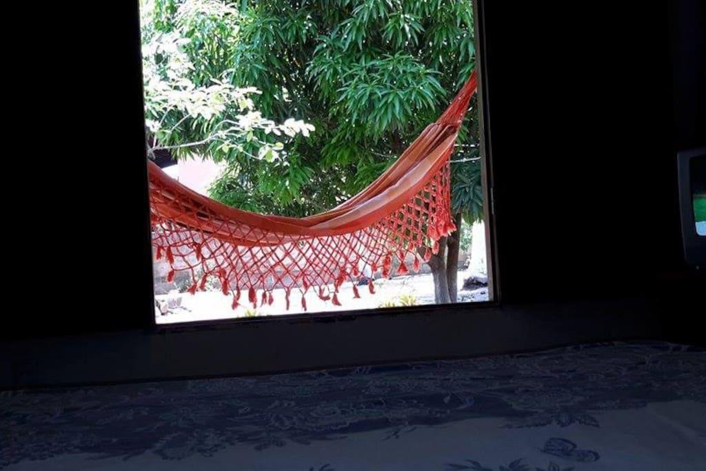 Visão do quarto para a varanda