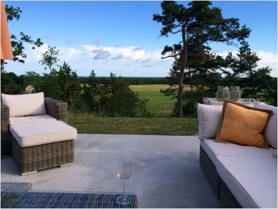 Gorgeous evenings on the terrace with tranquil peace and quietness.  Very private and perfect for a summer getaway!