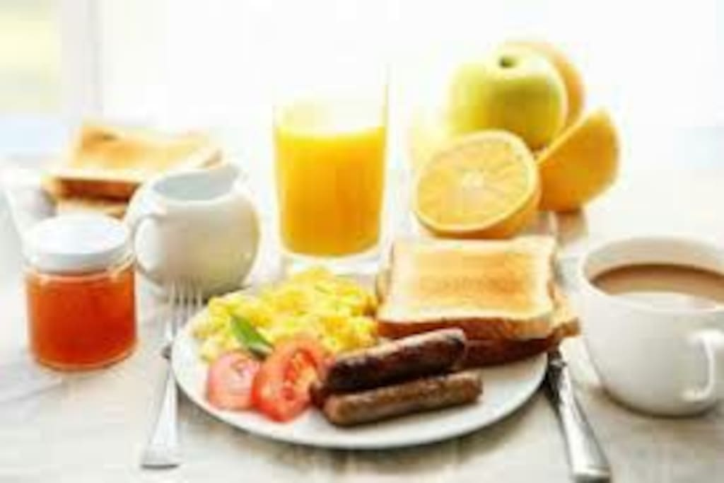 IHOP has nothing on us.                                                Oatmeal, grits, rice, raisin brand, Honey bunches of Oats, fruit juices, fresh fruit, eggs cooked to order, waffles, pancakes, bacon, sausage, milk, hot chocolate, KCup coffee, toast,.