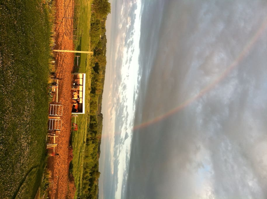 Summer rainbow view off of the deck...ahhhh, so peaceful