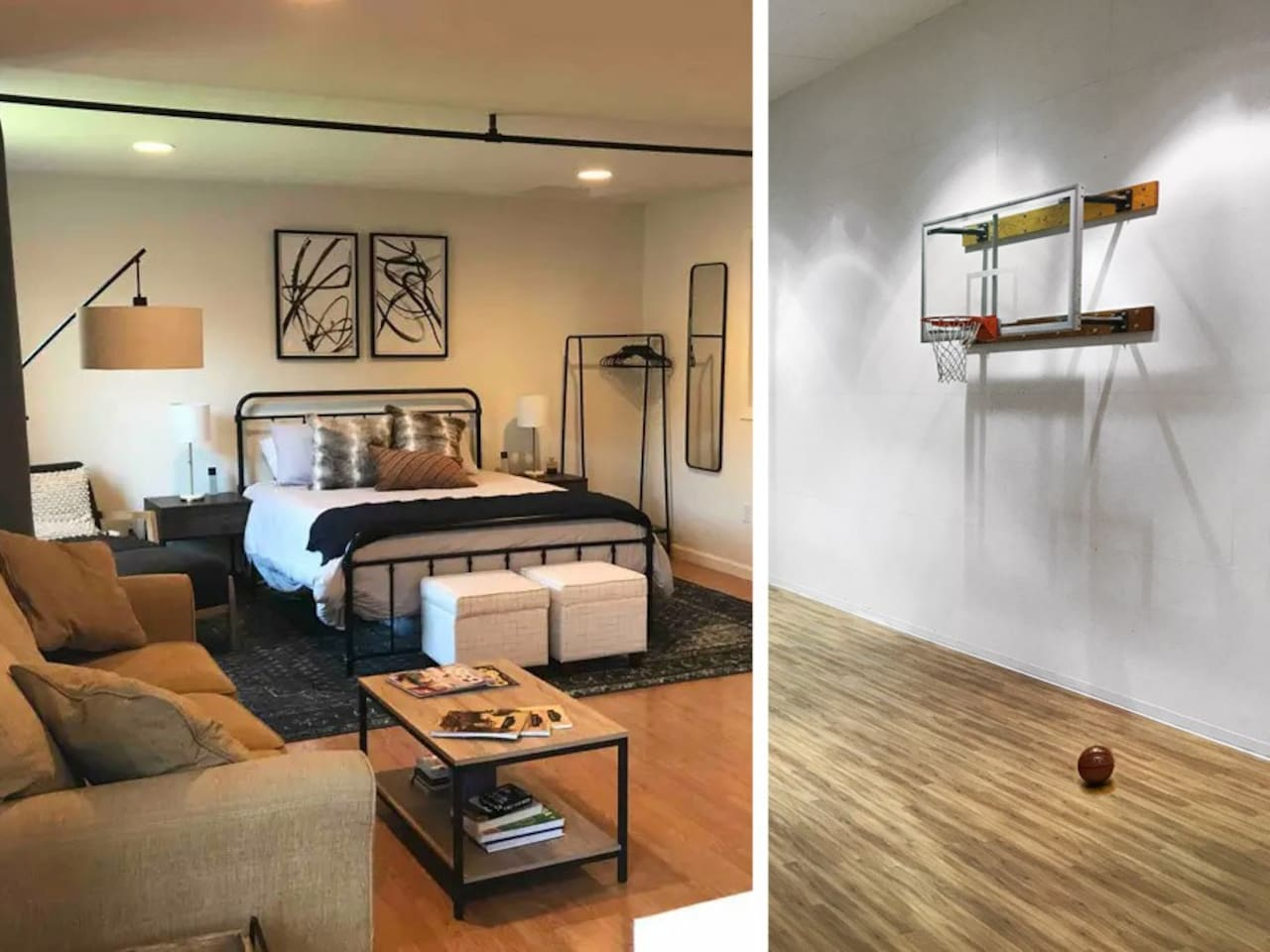 The loft is on the second floor, the bathroom and Sport Court are on the ground floor.  The Sport Court is a shared space but can usually be yours exclusively  if need be.   We have a short walk through video,  please message us for the link.