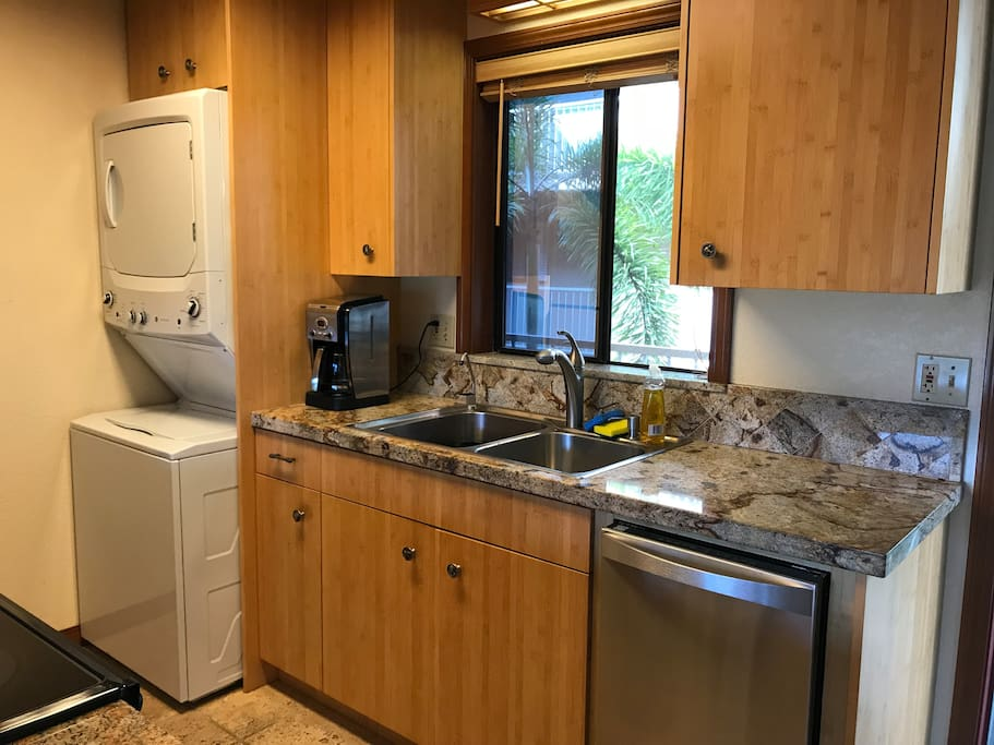 Granite countertops, stainless double sink, water filter system, dishwasher, washer dryer