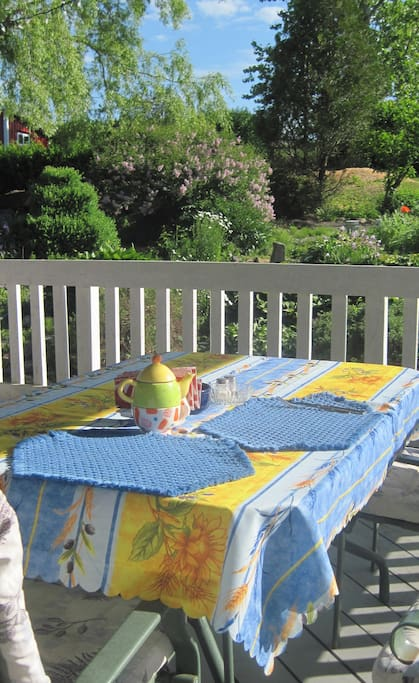 Enjoy your breakfast outside on the deck with a  view of the garden