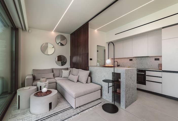 Wohnzimmer, Küche Twin Villa 1