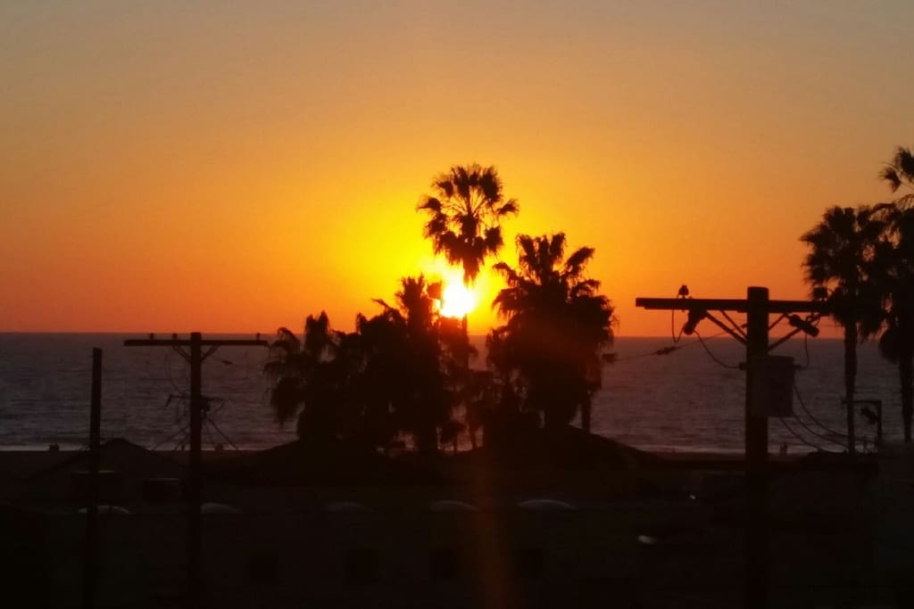 Sunset over the Pacific from the roof deck