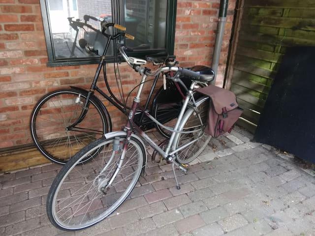 Een overdekte fietsenstalling. Opladen elektrische fietsen mogelijk.